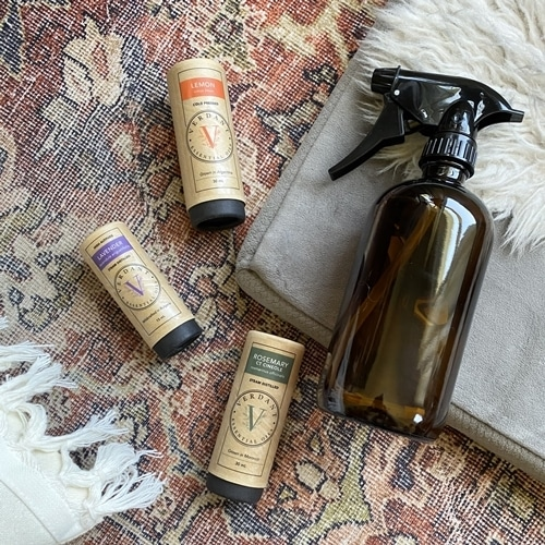 essential oils and spray bottle